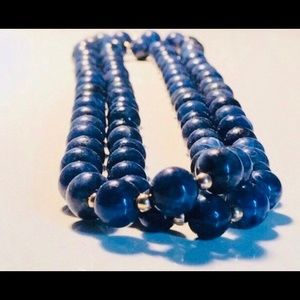 Jewelry - Vintage Lapis Polished Bead and Gold Necklace